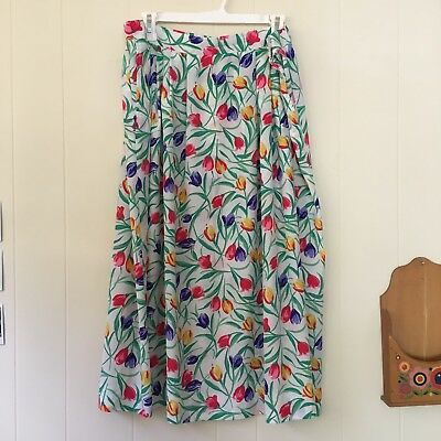 Bleyle Vintage Floral Silky Pleated Midi Skirt With Pockets Large