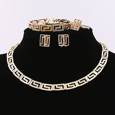 Charm Metal Women Gold Chain Necklace Choker Bracelet Earrings Ring Jewelry Set