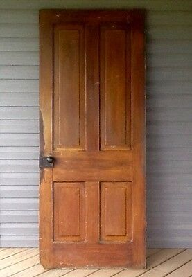 Vintage 1800's Wood Door Old Antique 4 Panel Solid Wood Victorian Farmhouse Door