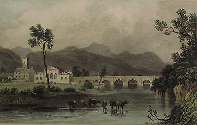 DOLGELLAU - Hand Coloured Engraving 1831 (After Henry Gastineau)