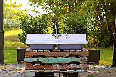 """Refinished 48"""" 1940's Vintage Stamped Metal Double Kitchen Farm Sink Package"""