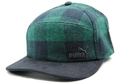 Puma Green Buffalo Plaid Hunter 5 Panel Camper Racer Style Cap Hat OSFM