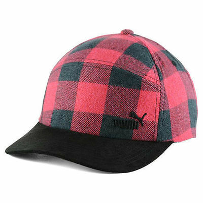 Puma Red Buffalo Plaid Hunter 5 Panel Camper Racer Style Cap Hat OSFM
