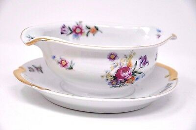 Kutani Gravy Boat with Under Plate Roses Gold Trim