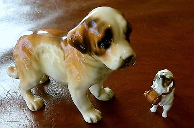 "Shafford Blue Ribbon Saint St Bernard Puppy Figurine 3.5"" Tall x 5"" Long   Japan"