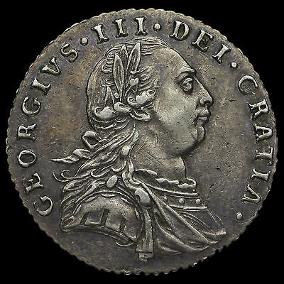 1787 George III Early Milled Silver Sixpence, Without Hearts, GVF+