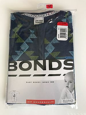 NWIP Bonds Baby Boys Navy Blue Aztec Print Zip Wondersuit Size 000-2 RRP$24.95