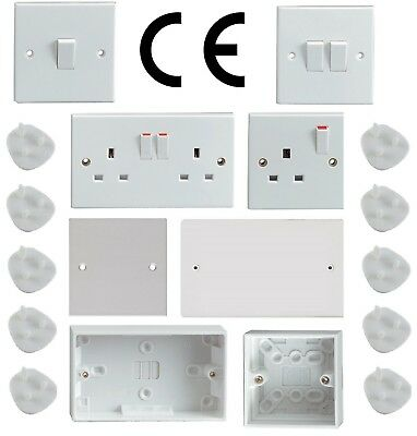 Light Switches Switched Plug Sockets Blanking Plate Cover Pattress Box White