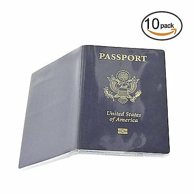 Honbay 10PCS Passport Cover Plastic ID Card Protector Case clear