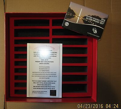 2016(13 coin)SILVER PROOF SET plus1999-16 silver proof set,RED, STORAGE BOX