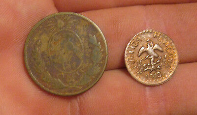Mexico - Pair of Coins Brass & Copper (1857 & 1915)