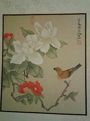 2 SILK Asian ART Vintage Hand Painted Paintings Chinese ~Numbered Signed inChina