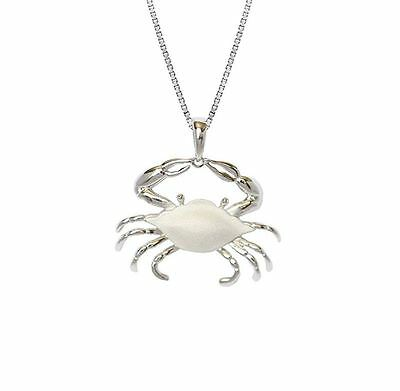 Blue Crab Rhodium Sterling Silver 925 Pendant Necklace
