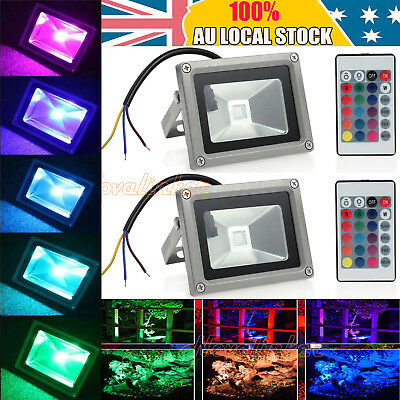 2PCS 10W RGB LED Dimmable Flood Light IP65 Waterproof Spotlight + Remote Contol