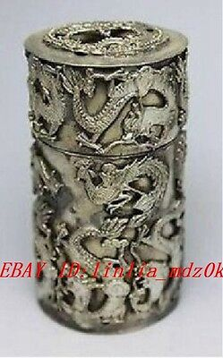 Chinese Hand Tibet Silver Dragon Toothpick Box