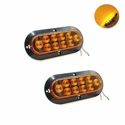"2X 6"" Amber Oval 10LED Surface Mount Marker Turn Indicator Light Car Truck"