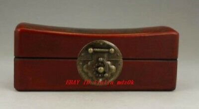 Chinese Old Leather Wood Handwork Painting Dragon Phoenix Jewel Box