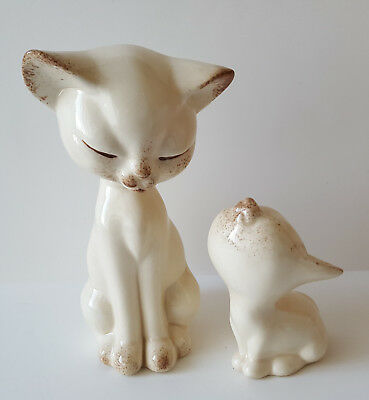 Vintage 1984 Kitsch Cute Long Neck Siamese Cat White Ceramic Figurines