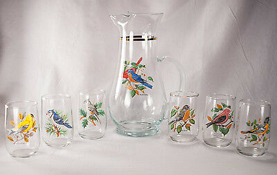 West Virginia Glass Speciality American Songbirds 7 Pc Pitcher Juice Glasses Set