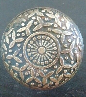Antique Brass Bronze Victorian Eastlake Door Knob - Rice Pattern