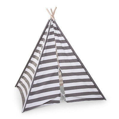 CHILDWOOD Tipi Tent Canvas Kids Children 135x150x130 cm Grey and White TIPSTR