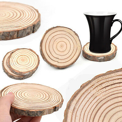 Natural Wooden Slice Cup Mat Coaster Tea Coffee Mug Drinks Round Holder Random