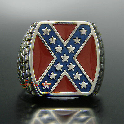 Huge Square Stainless Steel American Heritage South Cross Pride Mens Rocker Ring