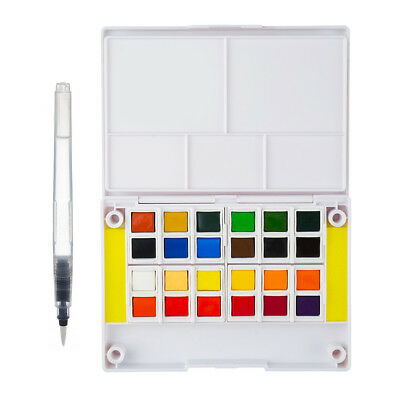Watercolor Solid Paint Set 24 Colors with a Separate Palette and a Paint Brush