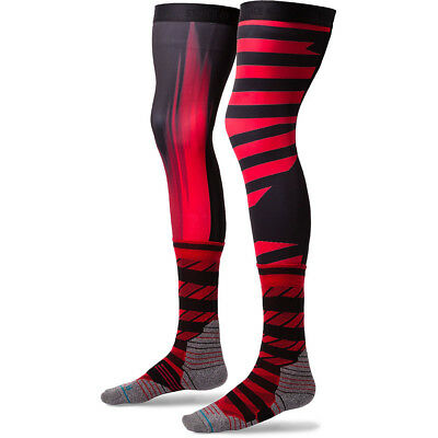 NEW Stance Moto Dusk Red Black Long Motocross Compression MX Knee Brace Socks