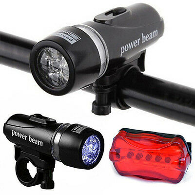 Waterproof Lamp Bike Bicycle Front 5 LED Head Light + Rear Safety Flashlight Set