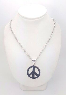 Silver (925) Belcher Chain Necklace with Large Peace Sign