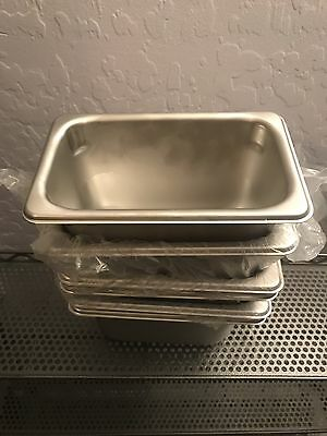 "Volrath 20949 S/S 1/9 Size X 4"" D Steam Table/Food Pan Lot Of #6 Stainless Steel"