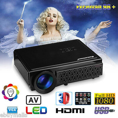 5000Lumens 1080P Full HD 3D Projector LED Home Cinema Theater HDMI/USB/AV/VGA UK