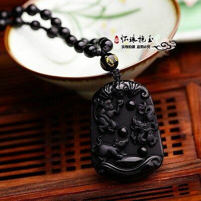 New Beautiful Chinese natural obsidian carved dragon jade pendant necklace 望子成龙