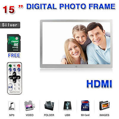 "New 15"" Silver Digital Photo Frame HDMI MP3 AVI Audio Video Photograph + 8GB SD"