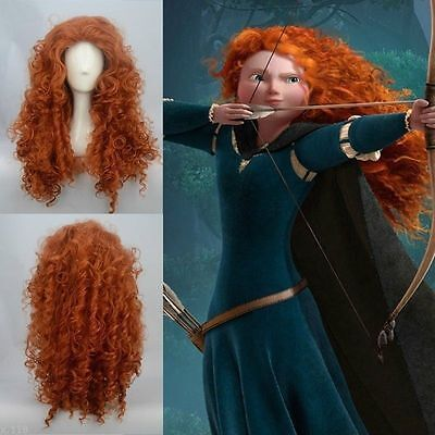 Brave Pixar Merida Curly Wavy Orange Long Costume Hair Fashion Cosplay Party Wig