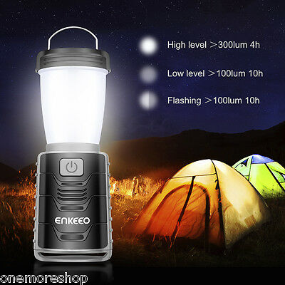 Portable LED 300LM Camping Lantern Rechargeable Tent Lamp Light Garden Outdoor
