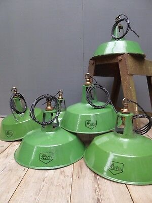 Original Vintage Industrial Revo Green Enamel Pendant Lights; 5 Available
