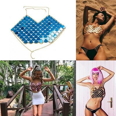 Mermaid Mirror Harness Crop Top Festival Body Chain Sequin Bralet beach Boho AU