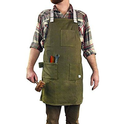 H&O Waxed Canvas Utility Apron - Heavy Duty All-Purpose Cross-Back Straps Fully