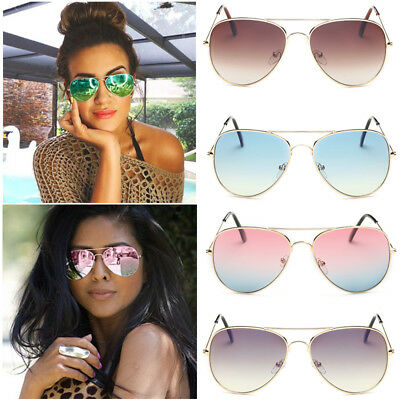 Women's Retro Fashion Aviator Mirrored Lens Sunglasses Sport Eyewear Eye Glasses