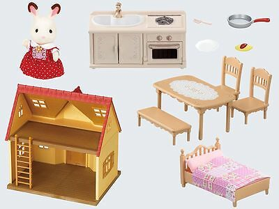House And Cosy Cottage Furniture Set For Sylvanian Families And Chocolate Rabbit