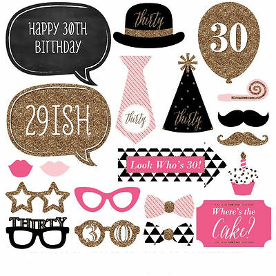 20Pcs DIY 30th Birthday Photo Booth Props On A Stick Glasses Party Favor Decor