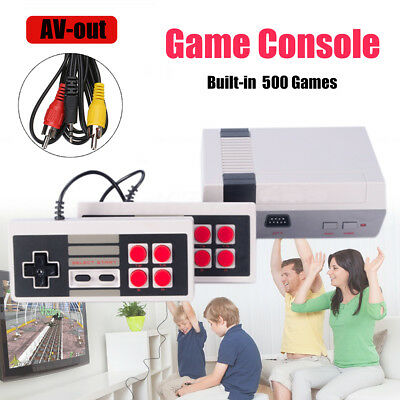 8 Bit Classic Retro Game Console Built-in 500 Games TV Output with 2 Controllers