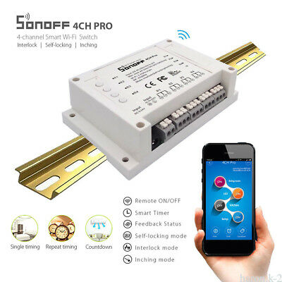 Sonoff 4CH Pro - 4 Channel Din Rail Mounting WiFI Smart Switch Home ESP8285 Chip