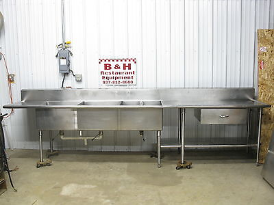 "149"" Stainless Steel Heavy Duty Work Table Three Compartment 3 Bowl Sink 12' 5"""
