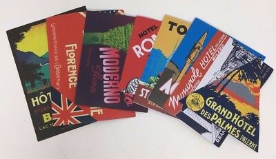 ITALY - 7 Assorted Reproduction Hotel Luggage Labels Decals Stickers