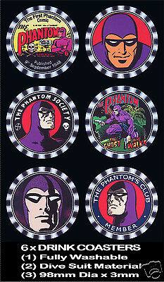 6 x THE PHANTOM, COMIC CHARACTER, ALL DIFFERENT,DRINK COASTERS,  Fully Washable