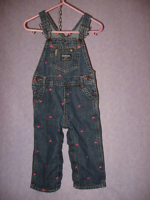 OSHKOSH Girl's ONLY Pink Embroidered Hearts Overalls Vestbak 18 Mos  HTF Snaps