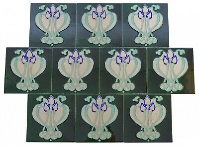 Set  of 10 ceramic replika art nouveau tiles in antique style handpainted set(a)